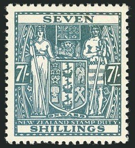 Sale Number 1114, Lot Number 370, New Zealand Coat of Arms Postal Fiscals (by Gibbons)NEW ZEALAND, 1936, 7sh Pale Blue, Postal-Fiscal, Wiggins Teape Paper (SG F174), NEW ZEALAND, 1936, 7sh Pale Blue, Postal-Fiscal, Wiggins Teape Paper (SG F174)