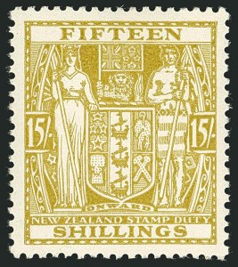 Sale Number 1114, Lot Number 373, New Zealand Coat of Arms Postal Fiscals (by Gibbons)NEW ZEALAND, 1936, 15sh Sage Green, Postal-Fiscal, Wiggins Teape Paper (SG F178), NEW ZEALAND, 1936, 15sh Sage Green, Postal-Fiscal, Wiggins Teape Paper (SG F178)