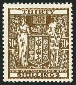 Sale Number 1114, Lot Number 374, New Zealand Coat of Arms Postal Fiscals (by Gibbons)NEW ZEALAND, 1936, 30sh Brown, Postal-Fiscal, Wiggins Teape Paper (SG F180), NEW ZEALAND, 1936, 30sh Brown, Postal-Fiscal, Wiggins Teape Paper (SG F180)