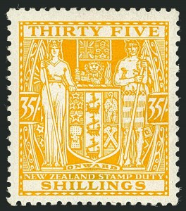 Sale Number 1114, Lot Number 375, New Zealand Coat of Arms Postal Fiscals (by Gibbons)NEW ZEALAND, 1936, 35sh Orange Yellow, Postal-Fiscal, Wiggins Teape Paper (SG F181), NEW ZEALAND, 1936, 35sh Orange Yellow, Postal-Fiscal, Wiggins Teape Paper (SG F181)