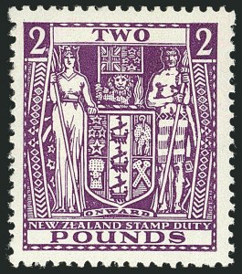 Sale Number 1114, Lot Number 376, New Zealand Coat of Arms Postal Fiscals (by Gibbons)NEW ZEALAND, 1937, £2 Bright Purple, Postal-Fiscal, Wiggins Teape Paper, Inverted Watermark (SG F182w), NEW ZEALAND, 1937, £2 Bright Purple, Postal-Fiscal, Wiggins Teape Paper, Inverted Watermark (SG F182w)
