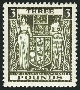 Sale Number 1114, Lot Number 377, New Zealand Coat of Arms Postal Fiscals (by Gibbons)NEW ZEALAND, 1936, £3 Green, Postal-Fiscal, Wiggins Teape Paper (SG F183), NEW ZEALAND, 1936, £3 Green, Postal-Fiscal, Wiggins Teape Paper (SG F183)