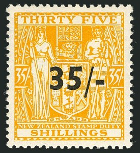 Sale Number 1114, Lot Number 378, New Zealand Coat of Arms Postal Fiscals (by Gibbons)NEW ZEALAND, 1939, 35sh on 35sh Orange Yellow, Postal-Fiscal, Cowan Paper (SG F186; Scott AR70), NEW ZEALAND, 1939, 35sh on 35sh Orange Yellow, Postal-Fiscal, Cowan Paper (SG F186; Scott AR70)