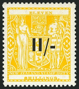 Sale Number 1114, Lot Number 379, New Zealand Coat of Arms Postal Fiscals (by Gibbons)NEW ZEALAND, 1940, 11sh on 11sh Yellow, Postal-Fiscal, Wiggins Teape Paper (SG F189; Scott AR73), NEW ZEALAND, 1940, 11sh on 11sh Yellow, Postal-Fiscal, Wiggins Teape Paper (SG F189; Scott AR73)
