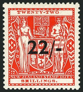 Sale Number 1114, Lot Number 380, New Zealand Coat of Arms Postal Fiscals (by Gibbons)NEW ZEALAND, 1940, 22sh on 22sh Scarlet, Postal-Fiscal, Wiggins Teape Paper (SG F190; Scott AR74), NEW ZEALAND, 1940, 22sh on 22sh Scarlet, Postal-Fiscal, Wiggins Teape Paper (SG F190; Scott AR74)