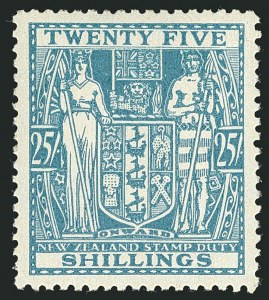 Sale Number 1114, Lot Number 381, New Zealand Coat of Arms Postal Fiscals (by Gibbons)NEW ZEALAND, 1946, 25sh Greenish Blue, Postal-Fiscal (SG F204; Scott AR87), NEW ZEALAND, 1946, 25sh Greenish Blue, Postal-Fiscal (SG F204; Scott AR87)
