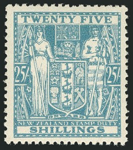 Sale Number 1114, Lot Number 382, New Zealand Coat of Arms Postal Fiscals (by Gibbons)NEW ZEALAND, 1946, 25sh Greenish Blue, Postal-Fiscal, Inverted Watermark (SG F204w; Scott AR87 var), NEW ZEALAND, 1946, 25sh Greenish Blue, Postal-Fiscal, Inverted Watermark (SG F204w; Scott AR87 var)
