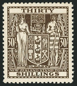 Sale Number 1114, Lot Number 384, New Zealand Coat of Arms Postal Fiscals (by Gibbons)NEW ZEALAND, 1946, 30sh Brown, Postal-Fiscal, Inverted Watermark (SG F205w; Scott AR88 var), NEW ZEALAND, 1946, 30sh Brown, Postal-Fiscal, Inverted Watermark (SG F205w; Scott AR88 var)