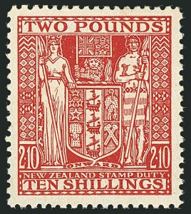 Sale Number 1114, Lot Number 385, New Zealand Coat of Arms Postal Fiscals (by Gibbons)NEW ZEALAND, 1951, £2 10sh Red, Postal-Fiscal (SG F207; Scott AR90), NEW ZEALAND, 1951, £2 10sh Red, Postal-Fiscal (SG F207; Scott AR90)