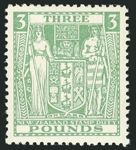 Sale Number 1114, Lot Number 386, New Zealand Coat of Arms Postal Fiscals (by Gibbons)NEW ZEALAND, 1946, £3 Green, Postal-Fiscal (SG F208; Scott AR91), NEW ZEALAND, 1946, £3 Green, Postal-Fiscal (SG F208; Scott AR91)