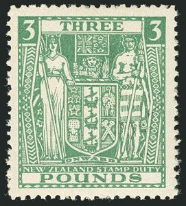 Sale Number 1114, Lot Number 387, New Zealand Coat of Arms Postal Fiscals (by Gibbons)NEW ZEALAND, 1946, £3 Green, Postal-Fiscal, Inverted Watermark (SG F208w; Scott AR91 var), NEW ZEALAND, 1946, £3 Green, Postal-Fiscal, Inverted Watermark (SG F208w; Scott AR91 var)