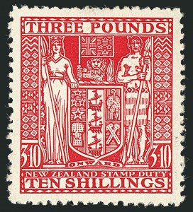 Sale Number 1114, Lot Number 388, New Zealand Coat of Arms Postal Fiscals (by Gibbons)NEW ZEALAND, 1946, £3 10sh Rose, Postal-Fiscal (SG F209; Scott AR92), NEW ZEALAND, 1946, £3 10sh Rose, Postal-Fiscal (SG F209; Scott AR92)