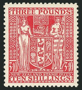 Sale Number 1114, Lot Number 389, New Zealand Coat of Arms Postal Fiscals (by Gibbons)NEW ZEALAND, 1946, £3 10sh Rose, Postal-Fiscal, Inverted Watermark (SG F209w; Scott AR92 var), NEW ZEALAND, 1946, £3 10sh Rose, Postal-Fiscal, Inverted Watermark (SG F209w; Scott AR92 var)