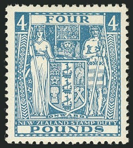 Sale Number 1114, Lot Number 390, New Zealand Coat of Arms Postal Fiscals (by Gibbons)NEW ZEALAND, 1952, £4 Light Blue, Postal-Fiscal (SG F210; Scott AR93), NEW ZEALAND, 1952, £4 Light Blue, Postal-Fiscal (SG F210; Scott AR93)
