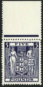Sale Number 1114, Lot Number 391, New Zealand Coat of Arms Postal Fiscals (by Gibbons)NEW ZEALAND, 1940, £5 Indigo, Postal-Fiscal (SG F211; Scott AR94), NEW ZEALAND, 1940, £5 Indigo, Postal-Fiscal (SG F211; Scott AR94)