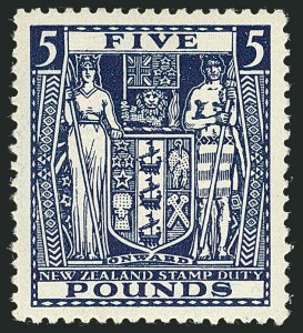 Sale Number 1114, Lot Number 392, New Zealand Coat of Arms Postal Fiscals (by Gibbons)NEW ZEALAND, 1950, £5 Indigo, Postal-Fiscal, Inverted Watermark (SG F211w; Scott AR94), NEW ZEALAND, 1950, £5 Indigo, Postal-Fiscal, Inverted Watermark (SG F211w; Scott AR94)