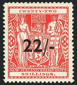Sale Number 1114, Lot Number 393, New Zealand Coat of Arms Postal Fiscals (by Gibbons)NEW ZEALAND, 1945, 22sh on 22sh Scarlet, Postal-Fiscal (SG F216; Scott AR98), NEW ZEALAND, 1945, 22sh on 22sh Scarlet, Postal-Fiscal (SG F216; Scott AR98)