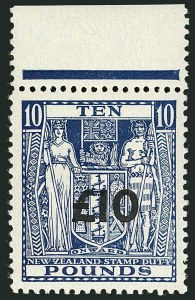 Sale Number 1114, Lot Number 395, New Zealand Coat of Arms Postal Fiscals (by Gibbons)NEW ZEALAND, 1940, £10 on £10 Deep Blue, Postal-Fiscal (SG F216b), NEW ZEALAND, 1940, £10 on £10 Deep Blue, Postal-Fiscal (SG F216b)