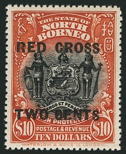 Sale Number 1114, Lot Number 401, Nigeria thru NyasalandNORTH BORNEO, 1918, 1c+2c to $10.00+2c Red Cross Semi-Postals (B14-B20; SG 214-234), NORTH BORNEO, 1918, 1c+2c to $10.00+2c Red Cross Semi-Postals (B14-B20; SG 214-234)
