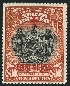 Sale Number 1114, Lot Number 402, Nigeria thru NyasalandNORTH BORNEO, 1918, 1c+4c to $10.00+4c Red Cross Semi-Postals (B31-B47; SG 235-252), NORTH BORNEO, 1918, 1c+4c to $10.00+4c Red Cross Semi-Postals (B31-B47; SG 235-252)