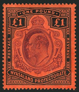 Sale Number 1114, Lot Number 404, Nigeria thru NyasalandNYASALAND, 1908, £1 Black & Violet on Red (10; SG 81), NYASALAND, 1908, £1 Black & Violet on Red (10; SG 81)