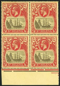 Sale Number 1114, Lot Number 455, St. Helena 1922 Badge Varieties in Multiples (by Gibbons)ST. HELENA, 1922, 2sh6p Gray & Red on Yellow, Torn Flag (SG 94b), ST. HELENA, 1922, 2sh6p Gray & Red on Yellow, Torn Flag (SG 94b)