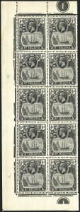 Sale Number 1114, Lot Number 456, St. Helena 1922 Badge Varieties in Multiples (by Gibbons)ST. HELENA, 1936, -1/2p Gray Black & Black, Broken Mainmast, Cleft Rock (SG 97ga, 97gc), ST. HELENA, 1936, -1/2p Gray Black & Black, Broken Mainmast, Cleft Rock (SG 97ga, 97gc)