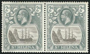 Sale Number 1114, Lot Number 458, St. Helena 1922 Badge Varieties in Multiples (by Gibbons)ST. HELENA, 1923, 2d Gray & Slate, Torn Flag (SG 100b), ST. HELENA, 1923, 2d Gray & Slate, Torn Flag (SG 100b)
