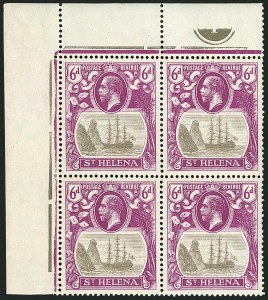 Sale Number 1114, Lot Number 459, St. Helena 1922 Badge Varieties in Multiples (by Gibbons)ST. HELENA, 1922, 6p Gray & Bright Purple, Broken Mainmast (SG 104a), ST. HELENA, 1922, 6p Gray & Bright Purple, Broken Mainmast (SG 104a)