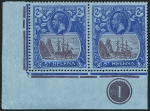 Sale Number 1114, Lot Number 462, St. Helena 1922 Badge Varieties in Multiples (by Gibbons)ST. HELENA, 1927, 2sh Purple & Blue on Blue, Cleft Rock (SG 108c), ST. HELENA, 1927, 2sh Purple & Blue on Blue, Cleft Rock (SG 108c)