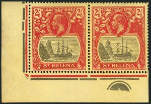 Sale Number 1114, Lot Number 463, St. Helena 1922 Badge Varieties in Multiples (by Gibbons)ST. HELENA, 1927, 2sh6p Gray & Red on Yellow, Cleft Rock (SG 109c), ST. HELENA, 1927, 2sh6p Gray & Red on Yellow, Cleft Rock (SG 109c)
