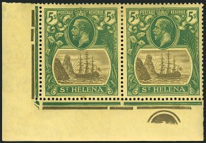 Sale Number 1114, Lot Number 464, St. Helena 1922 Badge Varieties in Multiples (by Gibbons)ST. HELENA, 1927, 5sh Gray & Green on Yellow, Cleft Rock (SG 110c), ST. HELENA, 1927, 5sh Gray & Green on Yellow, Cleft Rock (SG 110c)