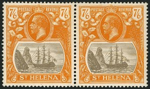 Sale Number 1114, Lot Number 465, St. Helena 1922 Badge Varieties in Multiples (by Gibbons)ST. HELENA, 1922, 7sh6p Gray Brown & Yellow Orange, Torn Flag (SG 111b), ST. HELENA, 1922, 7sh6p Gray Brown & Yellow Orange, Torn Flag (SG 111b)