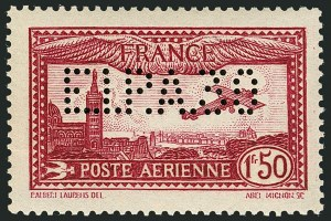 "Sale Number 1114, Lot Number 507, France Back-of-Book and CollectionsFRANCE, 1930, 1.50fr Deep Carmine Air Post, ""E.I.P.A. 30"" Perfin Initials (C5a; Yvert PA6d), FRANCE, 1930, 1.50fr Deep Carmine Air Post, ""E.I.P.A. 30"" Perfin Initials (C5a; Yvert PA6d)"