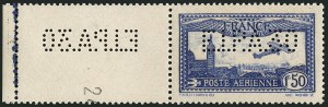 "Sale Number 1114, Lot Number 508, France Back-of-Book and CollectionsFRANCE, 1931, 1.50fr Dark Blue Air Post,  ""E.I.P.A.30"" Perfin Initials (C6b; Yvert PA6c), FRANCE, 1931, 1.50fr Dark Blue Air Post,  ""E.I.P.A.30"" Perfin Initials (C6b; Yvert PA6c)"