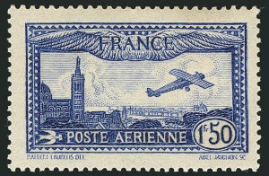 Sale Number 1114, Lot Number 509, France Back-of-Book and CollectionsFRANCE, 1931, 1.50fr Bright Ultramarine (C6d; Yvert PA6b), FRANCE, 1931, 1.50fr Bright Ultramarine (C6d; Yvert PA6b)
