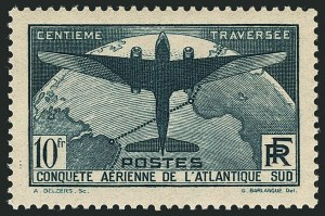 Sale Number 1114, Lot Number 513, France Back-of-Book and CollectionsFRANCE, 1936, 1.50fr, 10fr South Atlantic Flight (C16-C17; Yvert 320-321), FRANCE, 1936, 1.50fr, 10fr South Atlantic Flight (C16-C17; Yvert 320-321)
