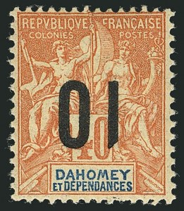 Sale Number 1114, Lot Number 568, Chad thru French CongoDAHOMEY, 1912, 5c on 25c Blue and 10c on 40c Red on Straw, Inverted Surcharge (36a, 38a; Yvert 37a, 39a), DAHOMEY, 1912, 5c on 25c Blue and 10c on 40c Red on Straw, Inverted Surcharge (36a, 38a; Yvert 37a, 39a)