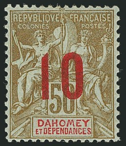 Sale Number 1114, Lot Number 569, Chad thru French CongoDAHOMEY, 1912, 10c on 50c Brown, Name in Red (40; Yvert 41), DAHOMEY, 1912, 10c on 50c Brown, Name in Red (40; Yvert 41)