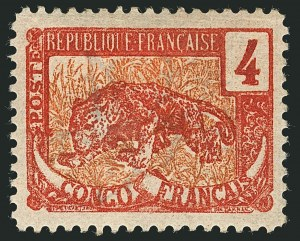 Sale Number 1114, Lot Number 572, Chad thru French CongoFRENCH CONGO, 1900, 4c Dark Red & Red, Error of Color (37e; Yvert 29a), FRENCH CONGO, 1900, 4c Dark Red & Red, Error of Color (37e; Yvert 29a)