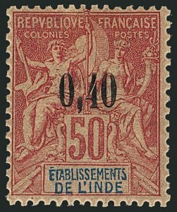 Sale Number 1114, Lot Number 595, French IndiaFRENCH INDIA, 1903, 5c on 25c to 40c on 50c Surcharges (20-23; Yvert 20-23), FRENCH INDIA, 1903, 5c on 25c to 40c on 50c Surcharges (20-23; Yvert 20-23)