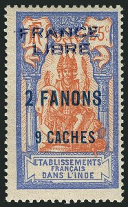 "Sale Number 1114, Lot Number 596, French IndiaFRENCH INDIA, 1941, 2fa9ca on 25c Ultramarine & Fawn, ""France Libre"" Overprint (116; Yvert 131), FRENCH INDIA, 1941, 2fa9ca on 25c Ultramarine & Fawn, ""France Libre"" Overprint (116; Yvert 131)"