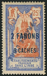 "Sale Number 1114, Lot Number 597, French IndiaFRENCH INDIA, 1941, 2fa9ca on 25c Ultramarine & Fawn, Inverted ""France Libre"" Overprint (116a var; Yvert 131b var), FRENCH INDIA, 1941, 2fa9ca on 25c Ultramarine & Fawn, Inverted ""France Libre"" Overprint (116a var; Yvert 131b var)"