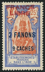 "Sale Number 1114, Lot Number 598, French IndiaFRENCH INDIA, 1941, 2fa9ca on 25c Ultramarine & Fawn, ""France Libre"" Carmine Overprint (116b; Yvert 131a), FRENCH INDIA, 1941, 2fa9ca on 25c Ultramarine & Fawn, ""France Libre"" Carmine Overprint (116b; Yvert 131a)"