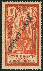 "Sale Number 1114, Lot Number 599, French IndiaFRENCH INDIA, 1941, 2ca-5r Pictorials with ""France Libre"" Overprint (117-134; Yvert 132-150), FRENCH INDIA, 1941, 2ca-5r Pictorials with ""France Libre"" Overprint (117-134; Yvert 132-150)"