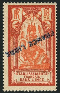 "Sale Number 1114, Lot Number 600, French IndiaFRENCH INDIA, 1941, 3ca-5r Pictorials, ""France Libre"" Inverted Overprints (117-134 vars; Maury 128a-133a, 135a, 137a-139a, 141a-143a, 145a-150a), FRENCH INDIA, 1941, 3ca-5r Pictorials, ""France Libre"" Inverted Overprints (117-134 vars; Maury 128a-133a, 135a, 137a-139a, 141a-143a, 145a-150a)"
