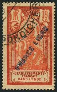 "Sale Number 1114, Lot Number 601, French IndiaFRENCH INDIA, 1941, 18ca Brown Red & Vermilion, ""France Libre"" Overprint (123A; Yvert 139), FRENCH INDIA, 1941, 18ca Brown Red & Vermilion, ""France Libre"" Overprint (123A; Yvert 139)"