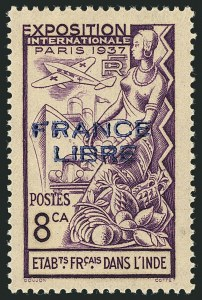 "Sale Number 1114, Lot Number 602, French IndiaFRENCH INDIA, 1941, 8ca-2fa12ca Paris Exposition, ""France Libre"" Overprint in Red and Blue Overprints, Normal and Inverted (135-139 vars; 151-156, 151a-156a), FRENCH INDIA, 1941, 8ca-2fa12ca Paris Exposition, ""France Libre"" Overprint in Red and Blue Overprints, Normal and Inverted (135-139 vars; 151-156, 151a-156a)"