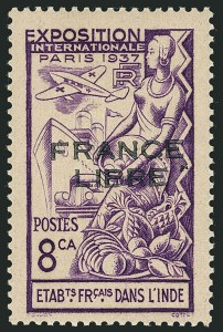 "Sale Number 1114, Lot Number 603, French IndiaFRENCH INDIA, 1941, 8ca Violet, ""France Libre"" Overprint in Black (135 var; Yvert 156b), FRENCH INDIA, 1941, 8ca Violet, ""France Libre"" Overprint in Black (135 var; Yvert 156b)"