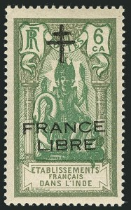 "Sale Number 1114, Lot Number 607, French IndiaFRENCH INDIA, 1942, 6ca Gray Green & Green, ""France Libre"" Overprint in Black (159 var; Yvert 179b; Maury 203b), FRENCH INDIA, 1942, 6ca Gray Green & Green, ""France Libre"" Overprint in Black (159 var; Yvert 179b; Maury 203b)"